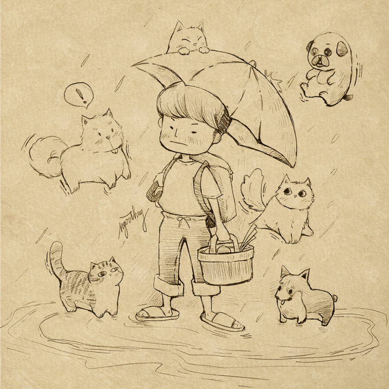 It Rains Cats And Dogs - Draft Lineart