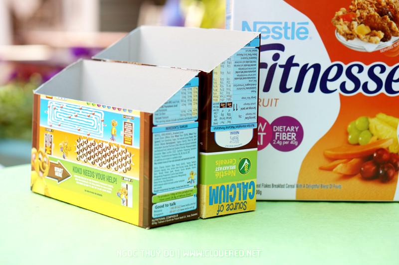 Hướng dẫn làm ngăn đựng đồ từ vỏ hộp ngũ cốc